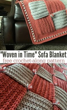 """Join the """"Woven In Time"""" Sofa Blanket Crochet Along! This blanket is EASY - beginner level even - and is a great way to use up scrap yarn and/or stash bust! via patterns blanket easy Woven in Time Sofa Blanket Crochet Along (CAL) Materials & Dates Crochet Afghans, Crochet Heart Blanket, Afghan Crochet Patterns, Crochet Stitches, Crochet Hooks, Crochet Baby, Knit Crochet, Crochet Blankets, Baby Blankets"""