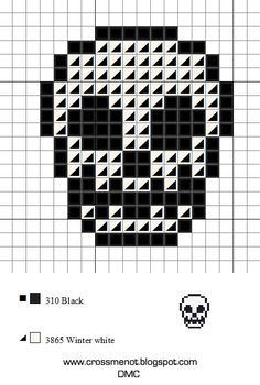 Here's a tiny skull in time for Halloween but remember, everyday is Halloween. Cross Stitch Skull, Tiny Cross Stitch, Beaded Cross Stitch, Cross Stitch Embroidery, Cross Stich Patterns Free, Beading Patterns Free, Embroidery Patterns Free, Loom Patterns, Pixel Pattern