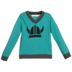 Boys teal green v-neck knitted sweater by <span>Deux Par Deux made from a very soft, fine knit wool and angora blend. It has contrast grey ribbed hem, cuffs and collar and a Viking helmet design on the front.<br /></span> <ul> <li>5% wool, 5% angora 40% viscose, 50% other fibre (soft, fine knit)</li> <li>Hand wash</li> <li>Designer colour: Tidepool</li> <li>True to size fitting</li> </ul>