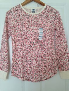 Old Navy Ivory Floral Long&Lean Thermal Crew Neck Tee/Top  XL(14) Girl  | eBay