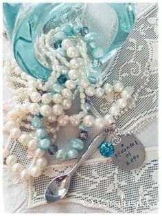 Spoonful of hope. Aqua Blue, Pearl Necklace, Jewelry Making, Jewellery, Pearls, Beach, Handmade, Beautiful, String Of Pearls