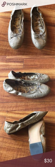 Sam Edelman flats size 71/2 tan and gold In great condition size 71/2 Sam Edelman Shoes Flats & Loafers