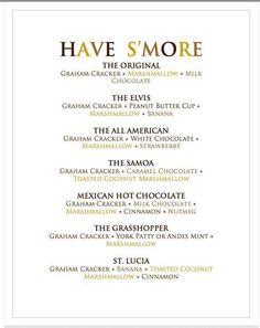 s'more party menu- what a fun idea!