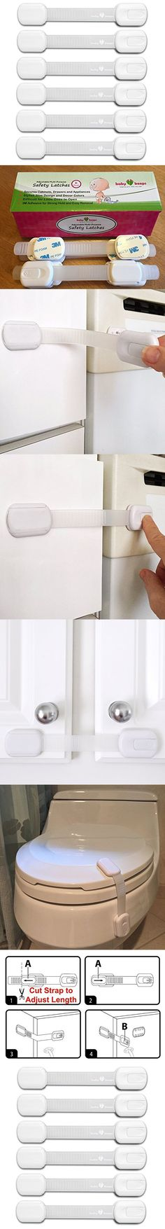BabyKeeps Adjustable Child Safety Locks - Latches to Baby Proof Cabinets, Drawers, Fridge, Oven, Dishwasher, Toilet Seat - No Tools or Drilling - BONUS: Reusable With Extra 3M Adhesive Included - Childproof Your Home in Style - Adorable Box Ideal For Baby