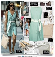 "GET THE LOOK OF PIPPA MIDDLETON | VESTIDO: ""Julia"" Logue London £140.00 ZAPATOS: Jemima Vine Edie Python Print Flat Pumps as worn by Pippa Middleton £149 BOLSO 1: (izquierda) Paula Boutique ""Stella"" Leather Shopper in cream £80.00 BOLSO 2: (derecha) Aruna Seth ""Romina Day Bag in Grey Leather £580.00 ANTEOJOS: Givenchy Sunglasses SGV767C 09X5 Black Leopard 767 152,00 € RELOJ PULSERA: Project D London ladies' two colour bracelet watch £575"