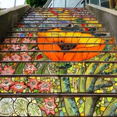 By popular demand: San Francisco's Hidden Garden Steps in the Sunset District. Mosaic Stairs, Mosaic Wall, Beautiful Stairs, Beautiful Places, Painted Staircases, Spiral Staircases, Painted Stairs, Hidden Garden, Stair Decor