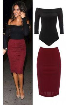 long sleeve off shoulder bodysuit top midi skirt two pieces set dress - Color Block Vetement