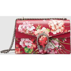 Gucci Dionysus Blooms Shoulder Bag ($2,490) ❤ liked on Polyvore featuring bags, handbags, shoulder bags, gucci, cerise, red leather purse, purse shoulder bag, leather man bags, red shoulder bag and hand bags