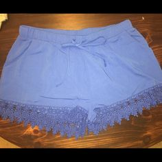 NWT - Lace Trim Shorts - Royal Blue Royal blue shorts with adjustable tie waist. Cute embroidered trim! Super comfortable and never worn. Francesca's Collections Shorts