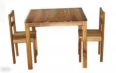 Hardwood Childrens Table And Two Chairs
