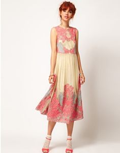 ASOS SALON, Spring/Summer 2012 online #lookbook   Neon Embroidery Mesh Midi dress
