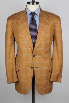 CLASSIC Aquascutum Rustic Brown Plaid Ticket Pocket Wool 40 R mens Sport Coat #Aquascutum #TwoButton