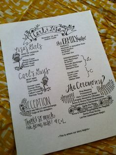 Custom Wedding Programs via Etsy