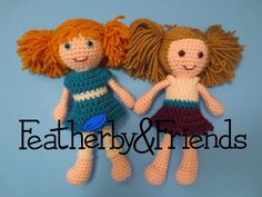 Lillie & Baylie - Little Sister Dolls - Crochet Patterns by Alicia Moore of Featherby & Friends