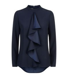 Ted Baker Ruffle blouse: 8 inspiring Ways With Ruffles And Flounces Blouse And Skirt, Work Blouse, Ruffle Blouse, Ted Baker Fashion, Trench Coat Outfit, Western Tops, Couture Tops, Piece Of Clothing, Work Fashion