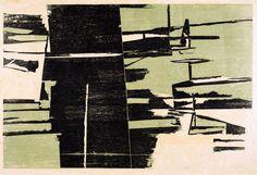 Untitled (1958) by Polish-born Brazilian printmaker Fayga Ostrower (1920-2001). Woodcut on paper. via entretenimento