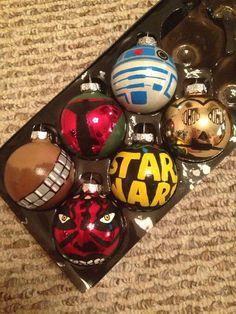 Star Wars Characters Set of 6 Ornaments por KaleyCrafts en Etsy Star Wars Christmas Tree, Christmas Lights, Christmas Crafts, Christmas Decorations, Xmas, Christmas Ornaments, Glass Ornaments, Ornaments Ideas, Disney Ornaments