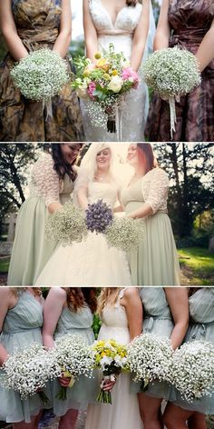 Babys breath bouquets for bridesmaids - ooo, pretty & cheap