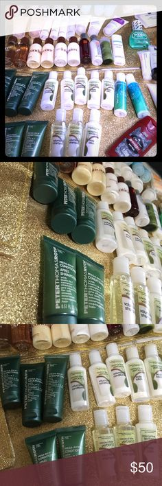 Lot of 52 travel size toiletries! Lot of 52 travel size toiletries! Clinique, Old Spice, Peter Thomas Roth, Bath & Bodyworks, templespa, scope, and more! Makeup