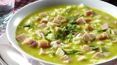 ☆...☆...☆... ........................ Soupe repas de courgettes et de jambon Open Kitchen, Cheeseburger Chowder, Soup Recipes, Low Carb, Charcuterie, Curry, Food, Group, Canning