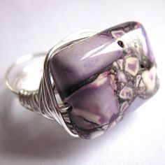 Wire Wrapped Ring Purple Mosaic Magnesite Stone by gimmethatthing, £9.75