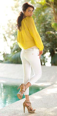 White capri skinnies and a sunshine yellow sheer blouse ~ Arden B