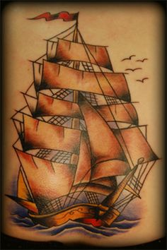 traditional tattoo designs | Traditional Ship Tattoo | Tattoo Designs from Checkoutmyink.com