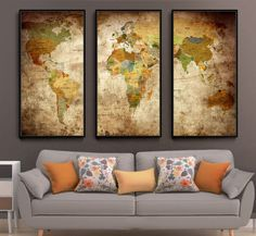 Push Pin Vintage World Map Poster Painting Print Home Decor Wall Art Wall Picture For Living Room ------------------------------------------------------------------------------------------------ Available sizes are shown in the SELECT A SIZE drop down menu above the ADD TO CART button