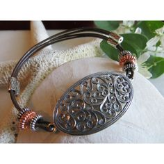 Leather Bracelet, Sterling Silver Filigree Bracelet, Copper Bracelet,... ($42) ❤ liked on Polyvore featuring jewelry and bracelets