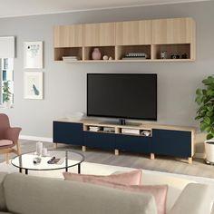 IKEA - BESTÅ TV storage combination walnut effect light gray Tv Storage, Storage Spaces, Tv Banco, Besta Tv Bank, Casa Milano, Plastic Foil, Tv Unit, Interior Accessories, Solid Oak