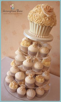 Vintage Ivory Lace & Pearl Wedding Cupcake Tower with Giant Cupcake, from Scrumptious Buns, UK