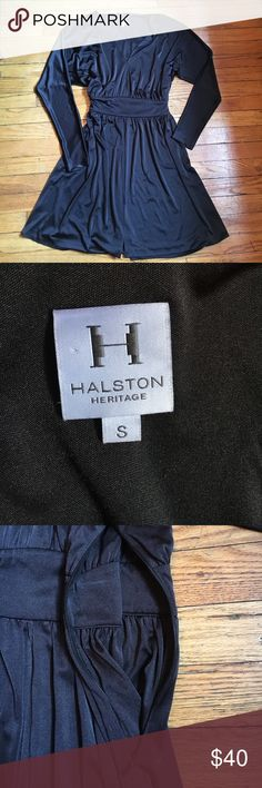 Stunning Black HALSTON Dress in Size Small They'll all be impressed with this HALSTON dress! Luscious material- great from work to evening. Soft and sumptuous. Side zip. NOTE: only issue is bottom hen has come undone and needs to be re-sewed! Easy. H by Halston Dresses Midi