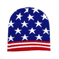 American Flag  Beanie USA Red White & Blue Knit Hat Punk Rock Snowboard Headgear #Leema #Beanie