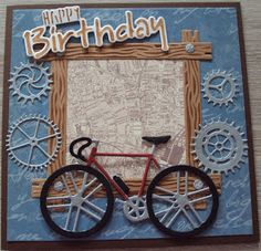 Masculine Birthday Cards, Birthday Cards For Men, Handmade Birthday Cards, Man Birthday, Masculine Cards, Greeting Cards Handmade, Boy Cards, Kids Cards, Bicycle Cards