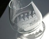 SAILBOAT Crystal Brandy Snifters with Etched Tall Sailing Ship Nautical Collectible Barware Mid Century Modern