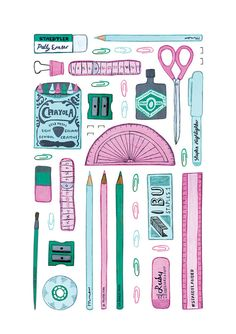 Items similar to Stationery Archival Print on Etsy Art And Illustration, Illustrations, Planner Stickers, Pattern Design, Bullet Journal, Stationery, Doodles, Artsy, Painting