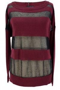 Laura Scott sweter z siatką pasy bordo