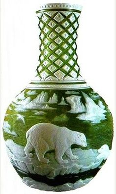 """The Polar Bear Vase Carved by George & Thomas Woodall George died in 1925, but his work and reputation was sufficient for the Daily Telegraph, in 1980, to describe him as """"The Rembrandt of Glass""""."""