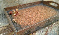 Купить Винтажный поднос - подарок, коричневый, винтаж, поднос для кухни, поднос ручной работы