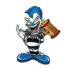 The demented, psychotic, eccentric, maniacal blue punk clown from Lethal Threat with a hazardous mallet. Joker Clown, Creepy Clown, Bos Bony, Cartoon Art, Cartoon Characters, Photografy Art, Evil Clown Tattoos, Character Art, Character Design