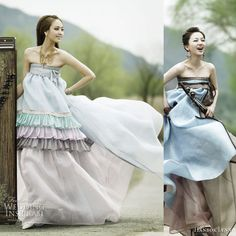 Traditional korean dress given an update using unusual materials such as chiffon, in lighter colors and incorporating elements such as ruffles and tiered skirt Korean Traditional Dress, Traditional Outfits, Traditional Wedding, Modern Traditional, Korean Outfits, Korean Dress, Hanbok Wedding, Wedding Dress Styles, Dress Wedding