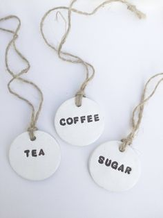 Excited to share the latest addition to my #etsy shop: Set of 3 coffee, sugar, tea tags for kitchen storage jars. Air dry clay customised tags, gift for mothers / mums. Christmas gift for her.