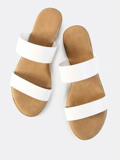 957ebd83df7f6e Double Band Slip On Sandals WHITEFor Women-romwe Cute Sandals