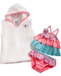 With butterfly appliques and pretty ruffles, this girls' swimsuit and cover-up set from Baby Bunz is perfect for fluttering on the beach. Click above to buy the 3-piece set.