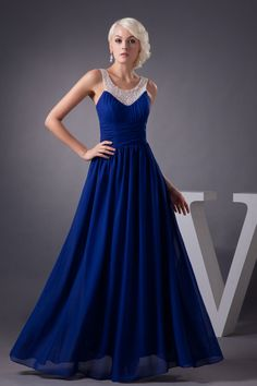 Regal Pleated Chiffon Prom Dress with Embellished Sheer Straps Brands:AmarantaFreeship:YESModel Name:SabrinaTailoring Time DaysTailoring Time (Rush DaysSilhouette:A-LineNeckline:ScoopSleeve Style:SleevelessWaist:NaturalBack Detail:ZipperHemline:Floor… Royal Blue Evening Dress, A Line Evening Dress, Evening Dresses Plus Size, Evening Gowns, Prom Dress 2013, Homecoming Dresses Long, Bridesmaid Dresses, Prom Gowns, Dresses 2013