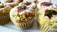 Pistachio Cupcakes Topped With Raspberry Sauce