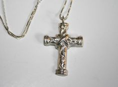 Precious metal clay cross pendant by Bits of Clay.