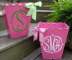 monogrammed trash cans--like the ribbon detail