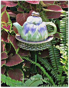 Lavender Tulips Teapot Garden Totem Stake  by GardenWhimsiesByMary, $30.00