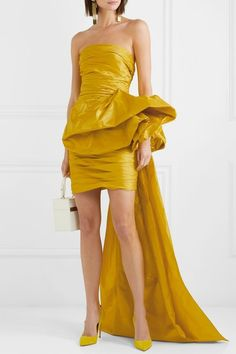 Saffron silk-faille Concealed hook and zip fastening at side silk Dry clean Strapless Mini Dress, Draped Dress, Glamour Shop, Bridesmaid Dresses, Wedding Dresses, Little Dresses, Fashion Outfits, Womens Fashion, Yellow Dress